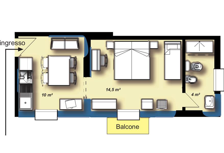 Appartamenti cervia monolocali e bilocali fronte mare for 2 piani letto 2 bagni